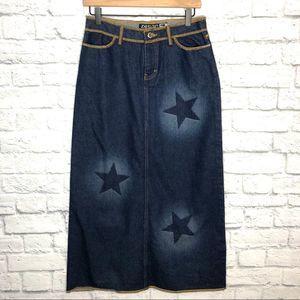 Zenan Star Denim Maxi Skirt